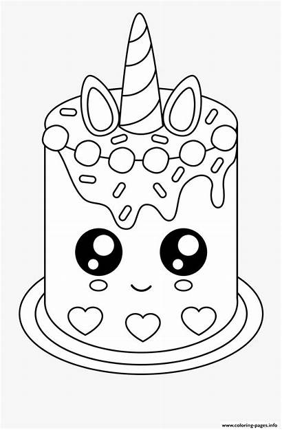 Unicorn Coloring Cake Pages Easy Printable Birthday
