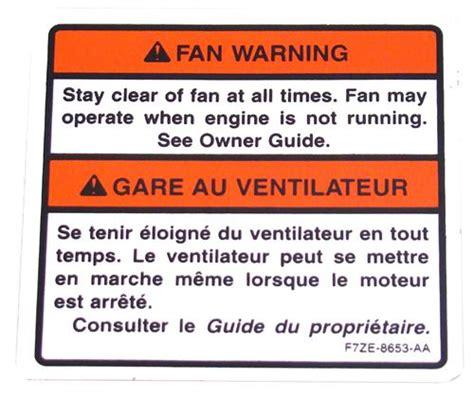 mustang fan warning decal   lmrcom