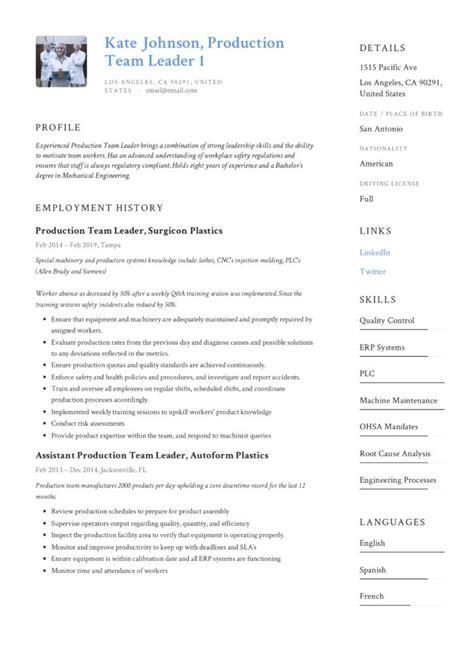 production team leader resume writing guide resumevikingcom