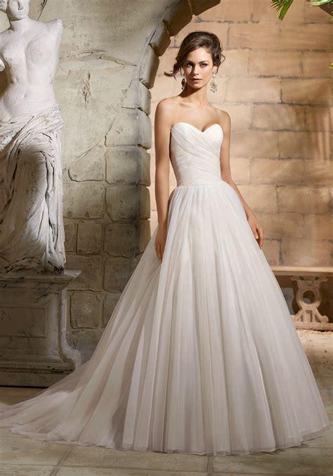 Draped Wedding Dresses - asymmetrically draped bodice on net wedding dress style