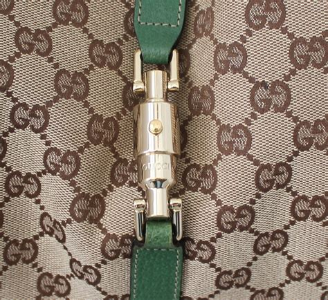 gucci brown fabric  green leather printed monogram