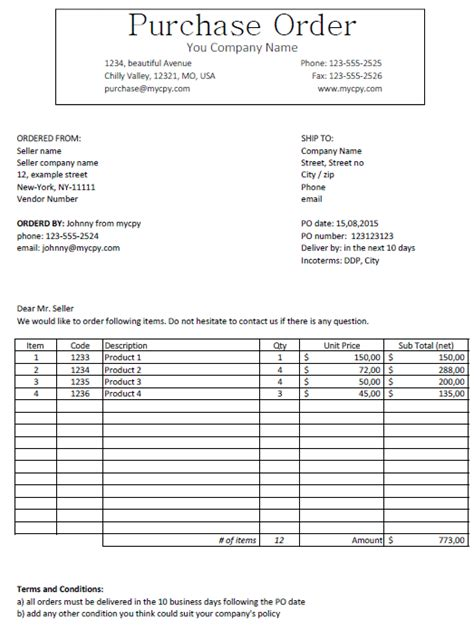 excel template classic  purchase order template