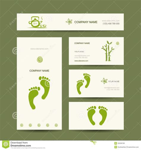 business cards design foot massage royalty  stock