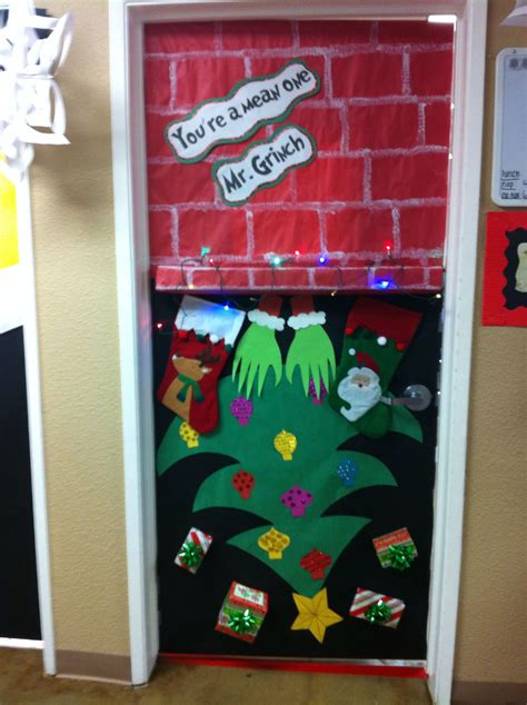 school door christmas decorating ideas grinch door for quot you re a one mr grinch