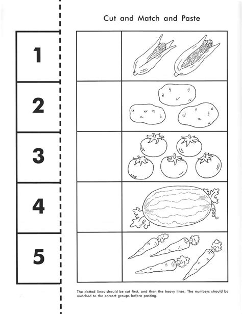 cut count match and paste free printable pre k math