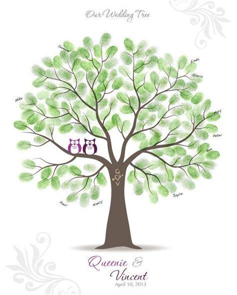 items similar to fingerprint wedding tree guest book poster engagement tree owls guestbook