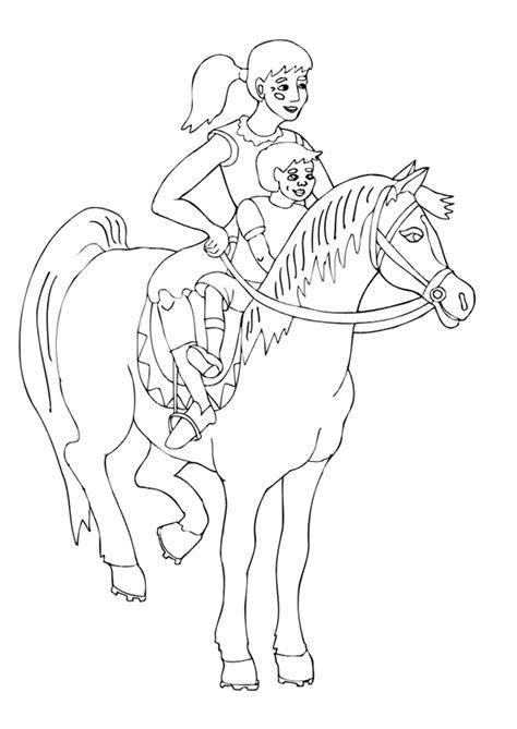 coloriage cavalier cheval famille sur hugolescargotcom