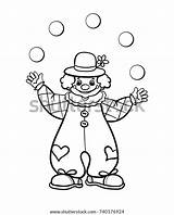 Juggler Clown Outline Circus Vector Coloring Illustration sketch template
