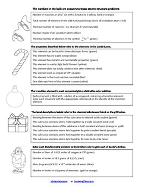Christmas Chemistry Review Worksheet W Coloring Fun For High School Chem