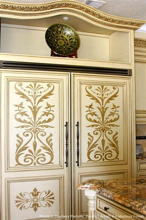 Kitchen Metallic Paint by Stenciled Cabinets With Modern Masters Metallic Paints