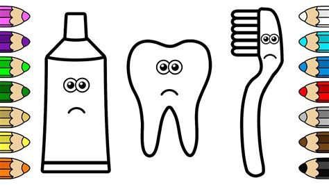 Toothbrush And Toothpaste Coloring Page Coloring For Baby With Tooth Toothbrush And