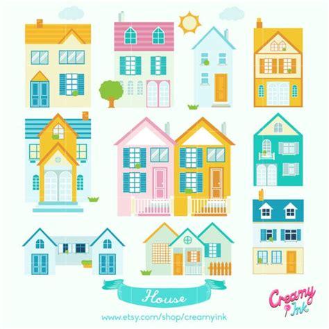 Little Neighborhood Digital Vector Clip Art  Cute House