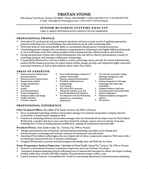 resume exles business systems analyst business analyst resume template 11 free word excel pdf free free premium