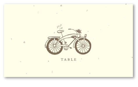 whimsical table cards  seeded paper sunset bike