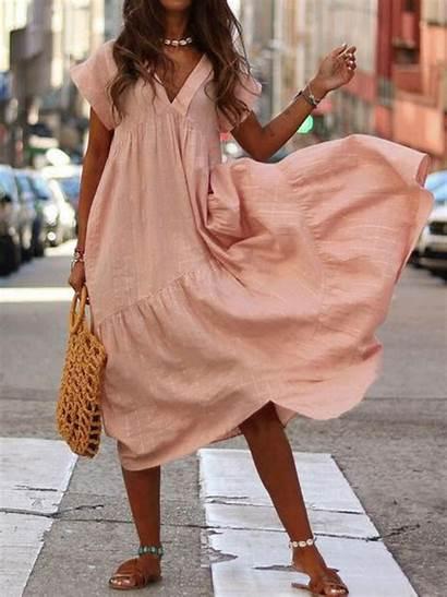 Neck Maxi Dresses Elegant Casual Short Noracora