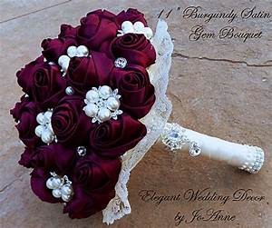 Satin Burgundy Bridal Brooch Bouquet Custom Made Bridal