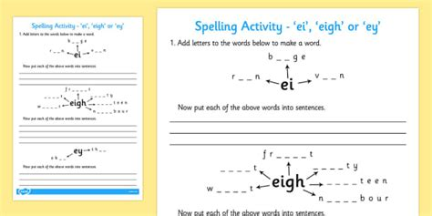 -ei -eigh Or -ey Spelling Activity