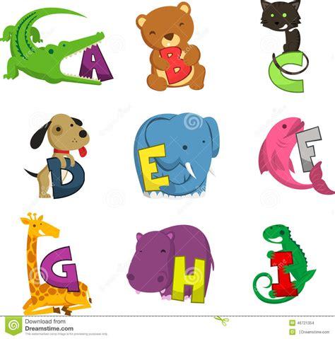 animal alphabet alphabetical list  animals stock
