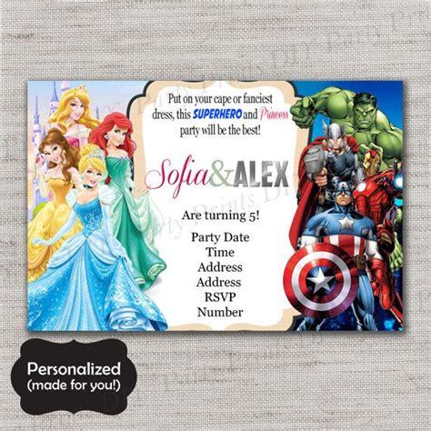 princesses  superheroes birthday inviteprincesses