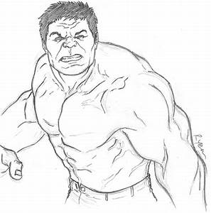 Drawn hulk outline - Pencil and in color drawn hulk outline
