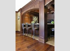 Mahogany Coffered Ceiling and Paneled Residential Bar