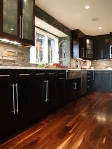 backsplash for espresso cabinets stone backsplash espresso cabinets apron sink house
