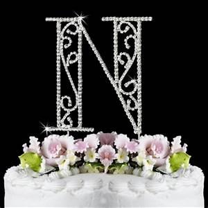 romanesque swarovski crystal wedding cake topper letter n With letter n cake topper