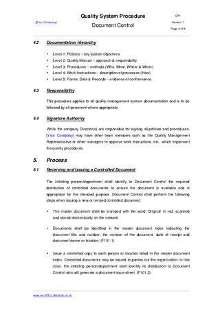 procedure document document procedure exle by iso 9001 checklist issuu