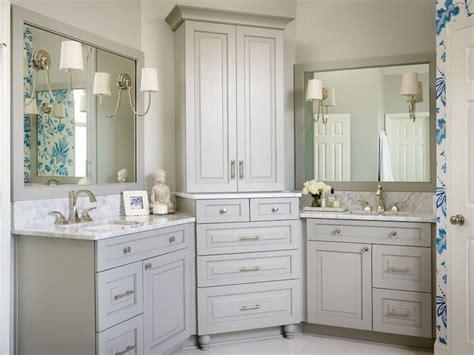 Beautiful Bathroom Features Gray His And Hers Vanities