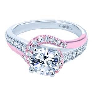 pink engagement ring a 14k white pink gold bypass engagement ring gabriel engaged