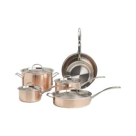 calphalon tri ply copper  piece cookware set reviews crate  barrel cookware set