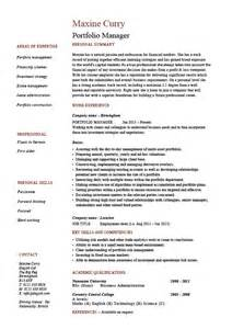portfolio manager resume exles portfolio manager resume investments cv description exle sle funds