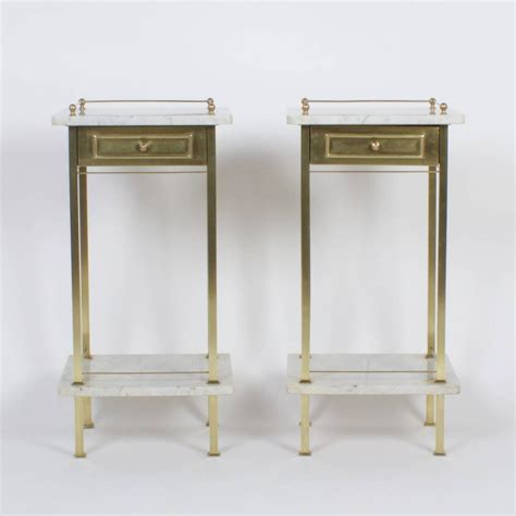 Brass Nightstands by Pair Of Brass And Marble Nightstands For Sale At 1stdibs