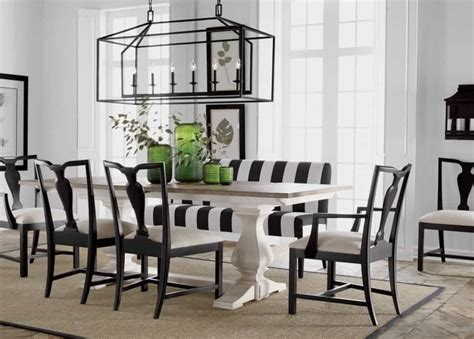 dining room  striped bench  linear chandelier