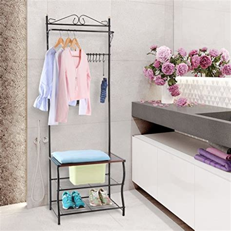 Entryway Bench With Shoe Storage And Coat Rack by Langria Entryway Coat Rack Metal Standing Tree With 2