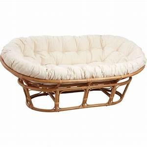 canape papasan 2 places en rotin avec coussin e achat With tapis yoga avec canapé 2 places rotin
