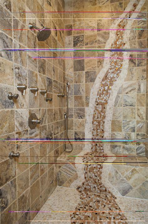 mosaic waterfall  shower bathroom tile mural bathroom