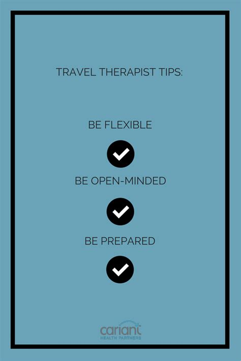 You can learn more about how to access sliding scale therapy here. Three tips from a traveling therapist: 1. Be flexible. 2. Be open-minded. 3. Be prepared to ...