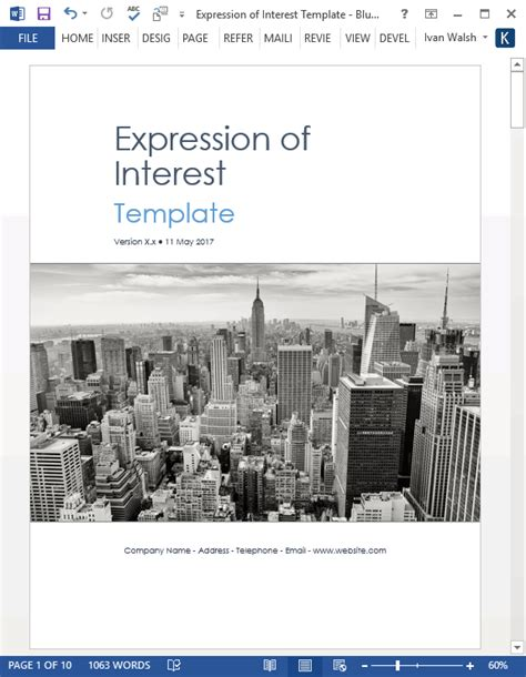 expression  interest eoi templates ms wordexcel