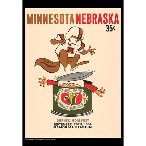 2021 Vintage Minnesota Golden Gophers Football Calendar ...