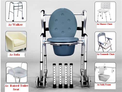 Commode Walker 6-in-1 Aluminum w/ Castors HH517SN | Commode