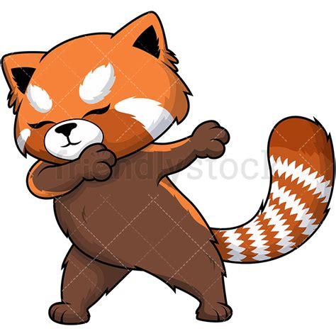 dabbing red panda cartoon vector clipart friendlystock
