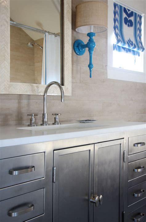 metal industrial bathroom vanity transitional bathroom