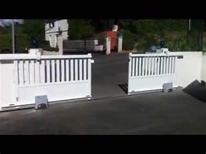 Portail Coulissant 2 Vantaux : portail coulissant 2 vantaux youtube ~ Edinachiropracticcenter.com Idées de Décoration