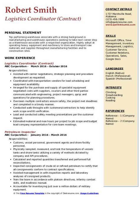 logistics coordinator resume samples qwikresume