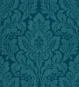 Papel pintado damasco floral verde azulado efecto tela fondo verde agua 2010722