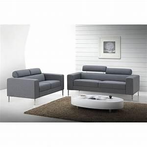 canape droit fixe design 2 places charline en tissu gris With canapé fixe design
