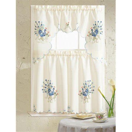 Kitchen Curtains Canada by Peacock Embroidered Kitchen Curtain Blue Walmart Canada
