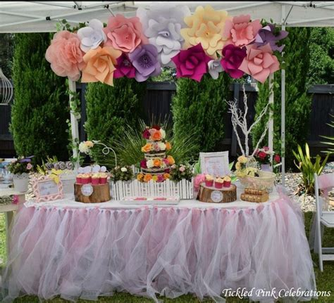garden themed baby shower dessert table styled by tickled