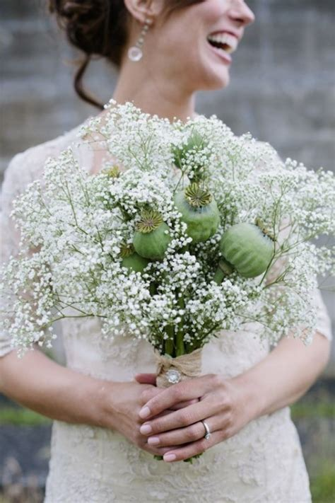 Picture Of A Unique Wedding Bouquet With Babys Breath And